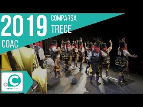 La agrupación Trece llega al COAC 2019 en la modalidad de Comparsas. En años anteriores (2018) concursaron en el Teatro Falla como La errante, consiguiendo una clasificación en el concurso de Preliminares.