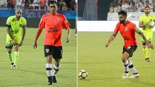 Ranbir Kapoor, Virat Kohli, Abhishek Bachchan and M.S Dhoni were all game at the Celebrity Clasico - TIMESOFINDIACHANNEL