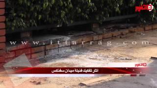 اتفرج | آثار انفجار قنبلة ميدان سفنكس بعد مرور موكب محلب
