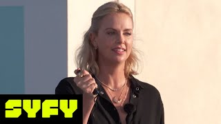 SYFY LIVE FROM COMIC-CON | Body of Work: Charlize Theron vs. Her Superfan | SYFY - SYFY