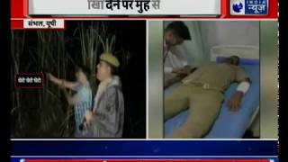 Police personnel shouts 'thain thain' to scare criminals during an encounter in Sambhal - ITVNEWSINDIA