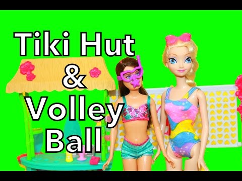 Frozen Elsa Barbie Sisters Tiki Hut AllToyCollector Volleyball Court Skipper New 2014 Toy Review