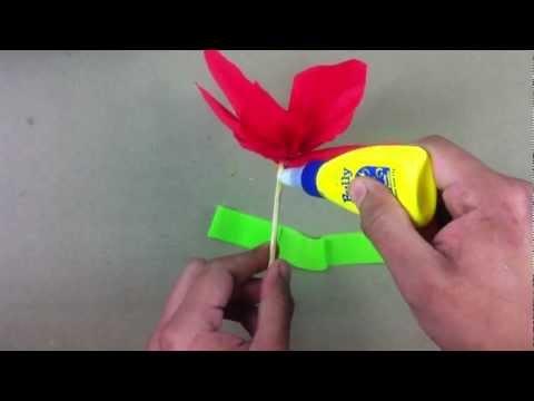 Flor de papel crepé - Manualidades fáciles