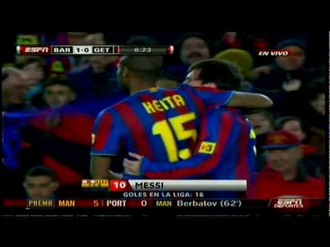 Golazo de Messi Narracion en vivo Barcelona 2 1 Getafe 02 06 2010 HD Videos lajornada.tv