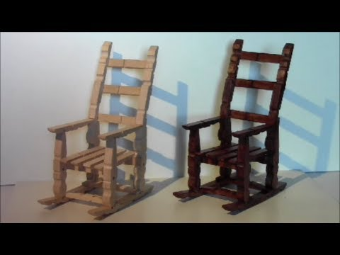 tutorial para hacer una mecedora con pinzas de madera / make a rocking chair with wooden pegs