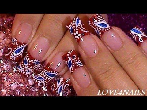 """Рисунок """"Цветочный орнамент"""" на ногтях. Видео"""