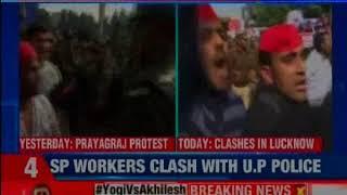 Akhilesh Yadav Vs Yogi Adityanath: Samajwadi Party workers clash with police in Lucknow - NEWSXLIVE