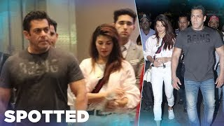 Salman Khan SPOTTED With His Race 3 Co-Star Jacqueline Fernandez At Airport - HUNGAMA