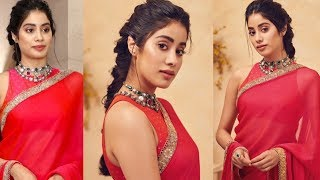 Jhanvi Kapoor Looks Dreamy In Red Saree At Dadasaheb Phalke Awards 2019 - RAJSHRITELUGU