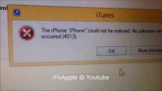 Fix iphone 5 5s 5c  4013 error on itunes