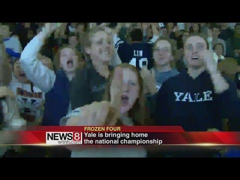 Yale fans celebrate NCAA hockey title