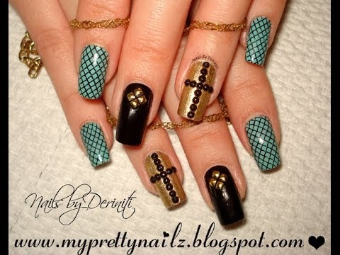 Edgy Elegant Easter Nails with Rhinestone Cross and Studs Nail Art Tutorial
