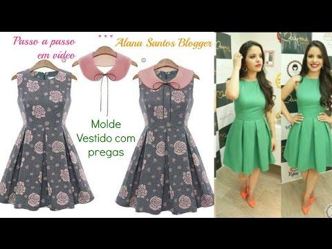Molde vestido de prega macho Alana Santos Blogger