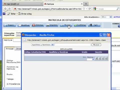siagie 2.0 - Video-tutorial 2: Matrícula y Modificación de Matrícula, uso de buscadores.