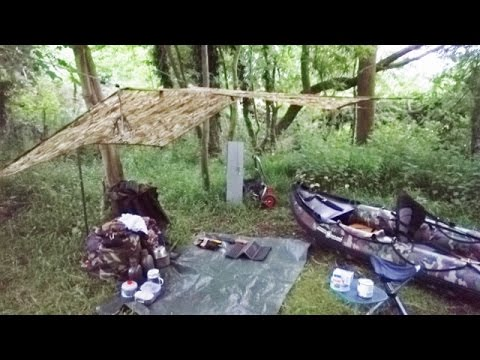 SOLO CANOE WILD CAMP - River Sights & Sounds, Trail Food, MTP Tarp, New Canoe Update