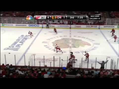 Valtteri Filppula backhand goal 4-1 May 18 2013 Detroit Red Wings vs Chicago Blackhawks NHL Hockey