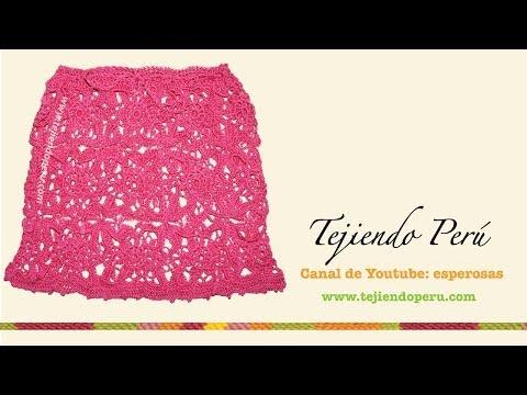 Falda con cuadrados o granny squares tejidos a crochet