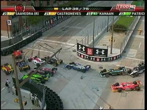 2011 Indycar Baltimore - Ryan Briscoe punts Ryan Hunter-Reay into a spin blocking the hairpin