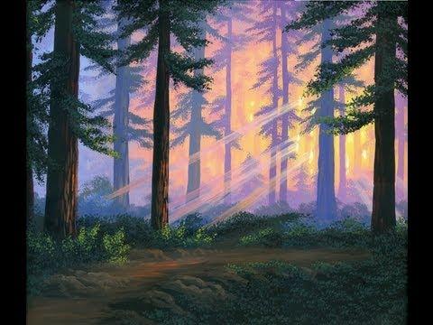 Jak malować 5 las o zachodzie słońca z akryl na płótnie