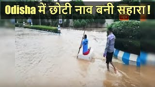 Odisha: Man uses a little boat to cross the street engulfed by rain water - ABPNEWSTV