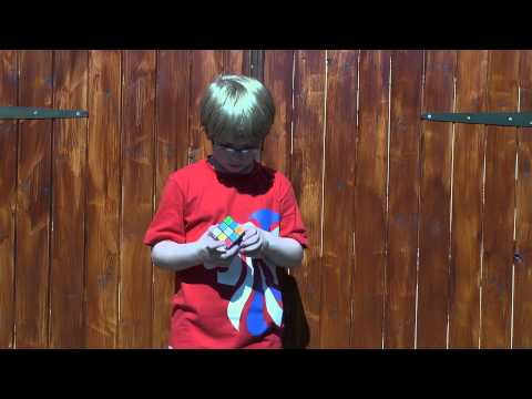 My 8yr old Nephew's 3 Rubik's Cube in 3 Minutes