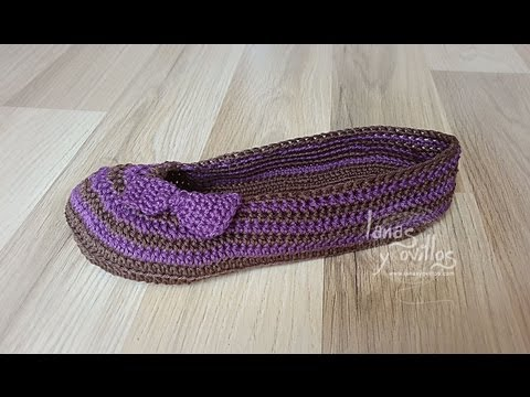 Tutorial Sandalias Crochet Mary Jane Slippers (1 de 2) (English subtitles)