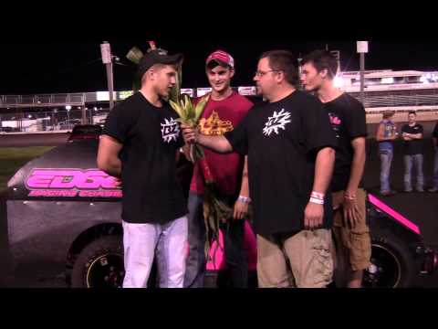 Charlie Brown interviewing Travis Stensland Mod Lite Feature winner 08/16/14