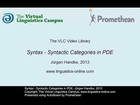 SYN101 - Syntactic Categories in PDE