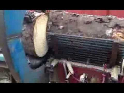 Automatic firewood processor homemade with Unitronics V570 PLC / Automatisk vedmaskin