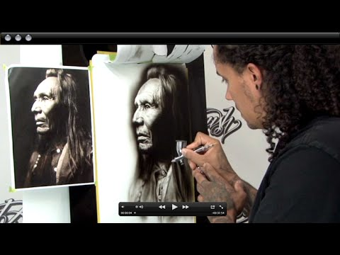 Black &amp; White Airbrush Portrait Techniques w/ Cory Saint Clair