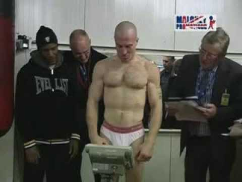 Boxers Weigh in for the championship fight.
