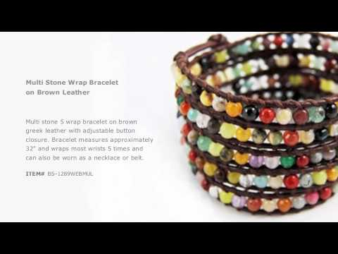 Chan Luu - Multi Stone Wrap Bracelet on Brown Leather
