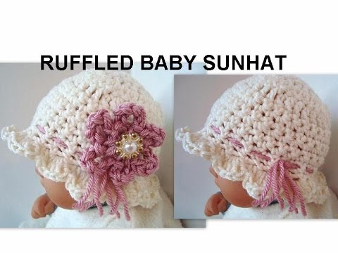 CROCHET HAT, RUFFLED BABY SUNHAT, how to diy, cute summer hat