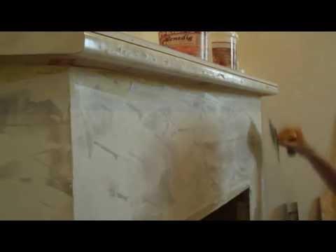 Декор камина, имитация мрамора, своими руками.