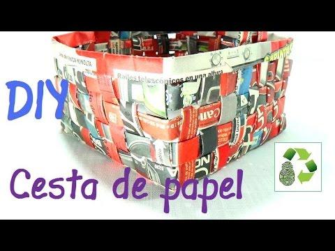 8. DIY BASKET MADE OF NEWSPAPER (CESTA O CAJA) RECICLAJE DE PAPEL PERIODICO