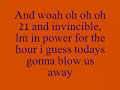 21 And Invincible Lyrics