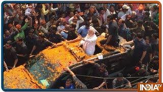 PM Modi's Convoys Moves Slowly Through A Sea Of People In Varnasi Roadhsow - INDIATV