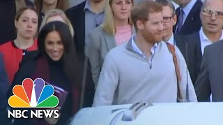 Beaming Meghan Markle And Prince Harry Arrive In Australia As News Of Pregnancy Breaks | NBC News - NBCNEWS