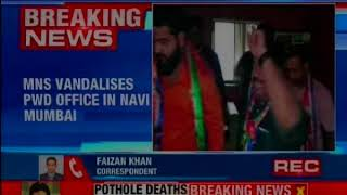 MNS workers vandalises PWD office in Navi Mumbai - NEWSXLIVE
