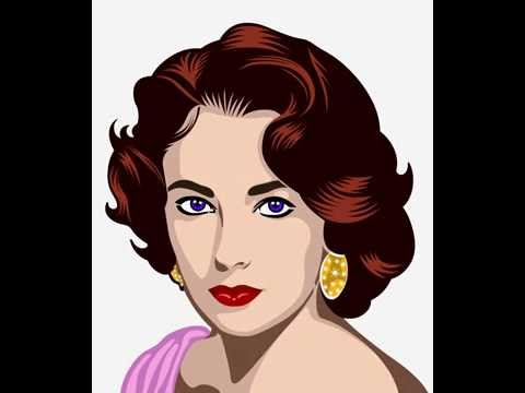 Retrato pop art vectorial de Liz Taylor