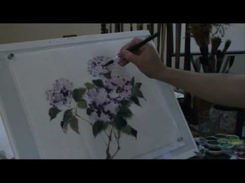 Happy 4th of July! Fireworks Inspired Hydrangeas in Free Style Brush Painting with Henry Li