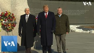 President Trump and VP Pence Visit Martin Luther King Jr. Memorial - VOAVIDEO