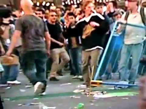 Vancouver Canucks Riot 2011: Guy gets hit in the balls by a flash bang grenade
