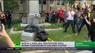 Protesters topple memorial statue honoring Confederate soldiers - RUSSIATODAY