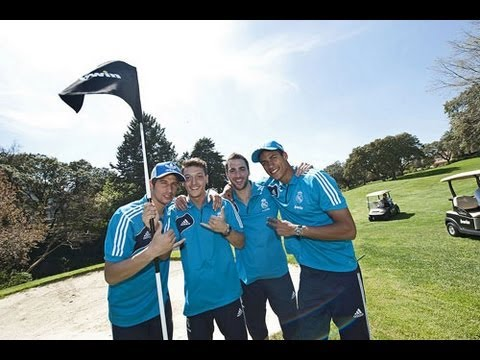 Real Madrid stars show off their football skills... on the golf course!