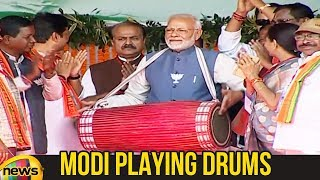 PM Modi Plays Traditional Drum During Rally in Ambikapur | Modi Latest News | #ModiNews | Mango News - MANGONEWS
