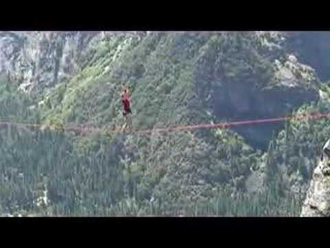 First Woman Walks the Lost Arrow Spire Highline