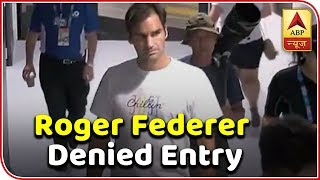 Security guard stops Roger Federer from entering locker room without id card. - ABPNEWSTV