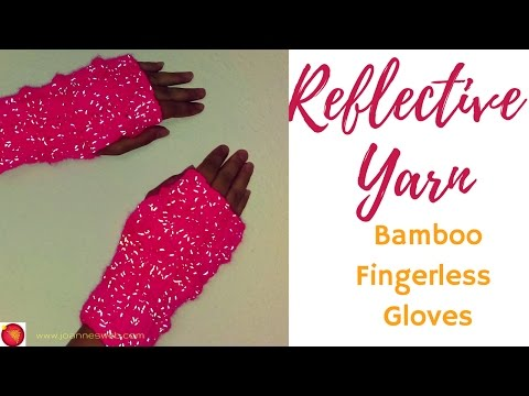 Bamboo Rib Reflective Fingerless Gloves   Fingerless Mittens Glow   Runner's Gloves