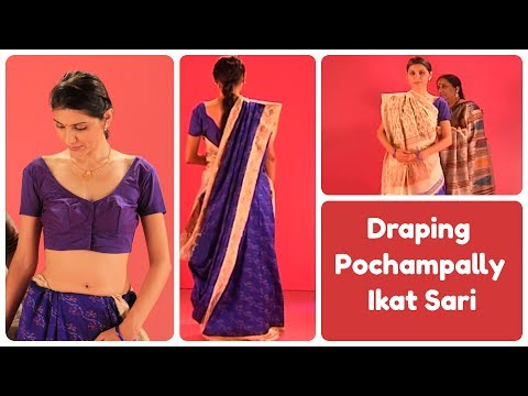 How to drape Pochampally Ikat Sari  Gujarati style, India